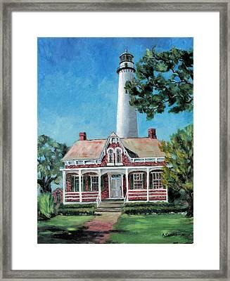 St. Simons Light Framed Print by Albert Fendig