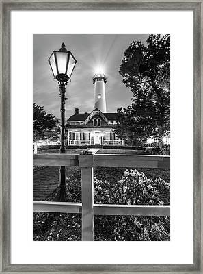 St. Simons Lighthouse Black And White Framed Print