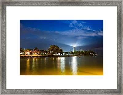 St. Simons Lighthouse Illumination Framed Print