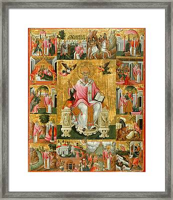 St Spyridon And Scenes From His Life Framed Print by Theodoros Poulakis