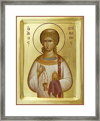 St Stephen The First Martyr And Deacon Framed Print by Julia Bridget Hayes