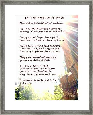 St Therese Of Lisieux Prayer And True Light Lower Emerald Pools Zion Framed Print