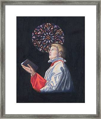 St. Thomas Episcopal Nyc Choir Boy Framed Print by Laurie Tietjen