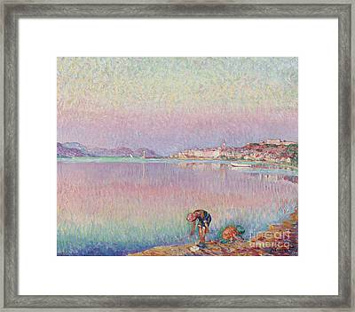 St Tropez. Two Kids By The Water Framed Print by MotionAge Designs