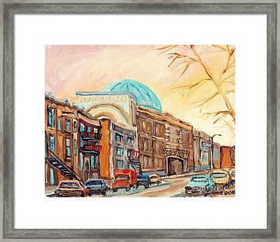 St Urbain Street Scene Baron Byng High School Painting Montreal Memories Carole Spandau              Framed Print by Carole Spandau