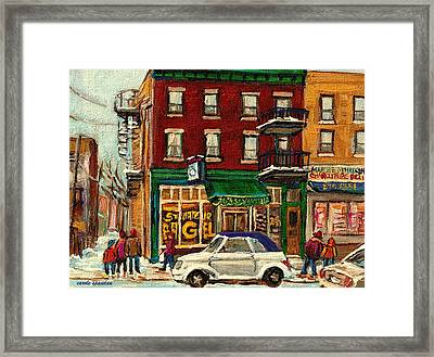 St Viateur Bagel And Mehadrins Deli Framed Print by Carole Spandau