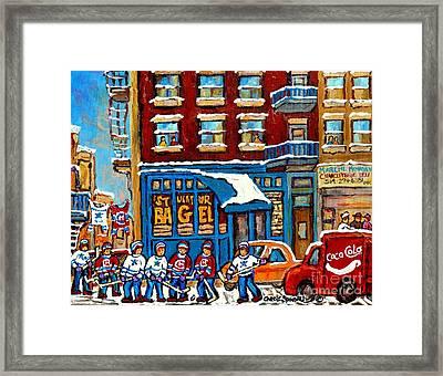 St Viateur Bagel Paintings Montreal Memories Street Hockey Coca Cola Truck Canadian Winter Scenes    Framed Print by Carole Spandau
