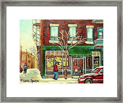 St Viateur Bagel Shop Montreal Framed Print by Carole Spandau
