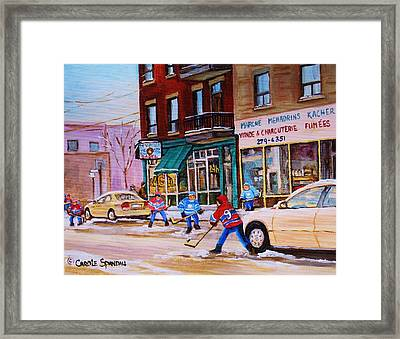 St. Viateur Bagel With Boys Playing Hockey Framed Print by Carole Spandau