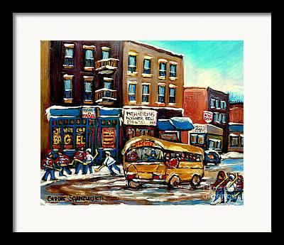 St. Viateur Bagel With Hockey Bus Framed Prints