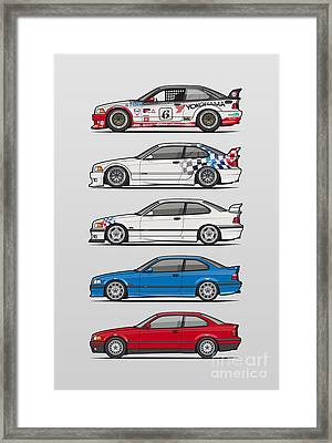 Stack Of Bmw 3 Series E36 Coupes Framed Print by Monkey Crisis On Mars