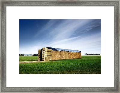 Stack Of Hay Bales Framed Print by Donald  Erickson