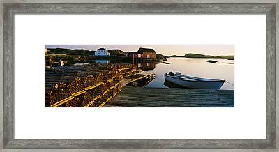 Stack Of Lobster Traps At A Dock Framed Print by Panoramic Images