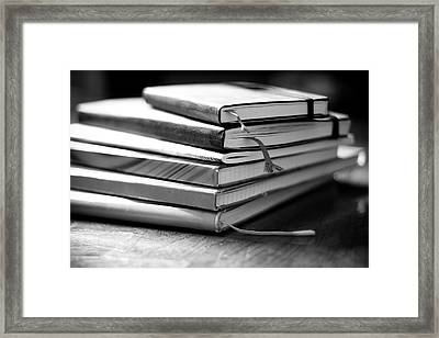Stack Of Notebooks Framed Print by FOTOGRAFIE melaniejoos