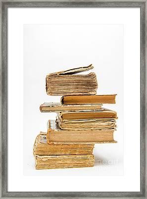 Stack Of Old Books Framed Print