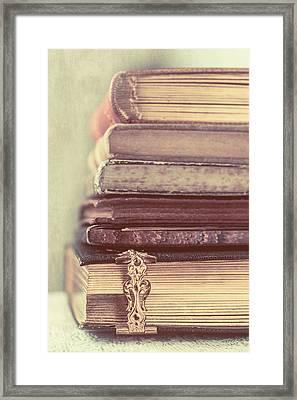 Stack Of Old Books Framed Print by Elly De vries