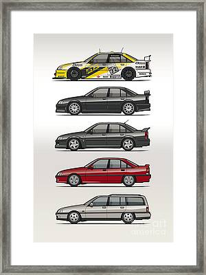 Stack Of Opel Omegas Vauxhall Carlton A Framed Print by Monkey Crisis On Mars