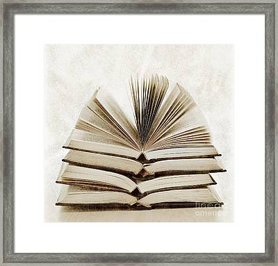 Stack Of Open Books Framed Print by Elena Elisseeva