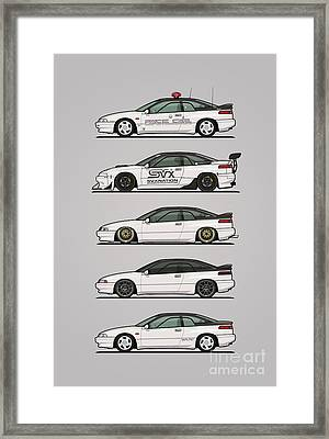 Stack Of Pearl White Subaru Alcyone Svx Framed Print by Monkey Crisis On Mars