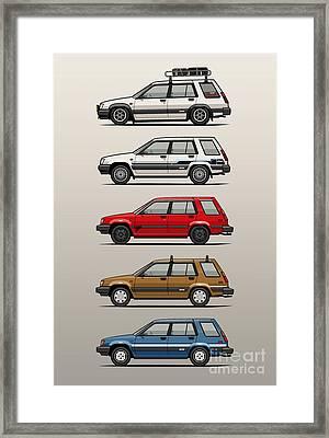 Stack Of Toyota Tercel Sr5 4wd Al25 Wagons Framed Print