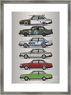 Stack Of Volvo 242 240 Series Brick Coupes Framed Print by Monkey Crisis On Mars