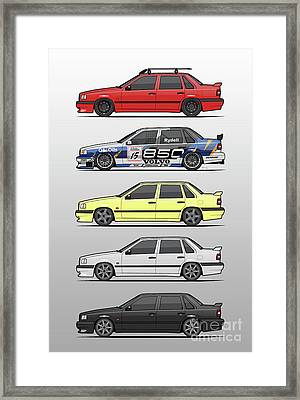 Stack Of Volvo 850r 854r T5 Turbo Saloon Sedans Framed Print by Monkey Crisis On Mars