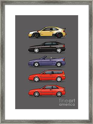 Stack Of Vw Corrados Framed Print by Monkey Crisis On Mars