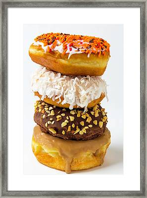 Stack Of Yummy Donuts Framed Print