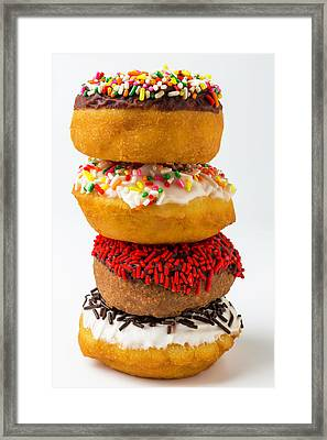 Stacked Donuts Framed Print by Garry Gay