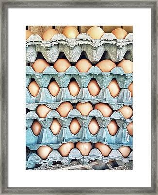 Stacked Egg Boxes Framed Print by Tom Gowanlock