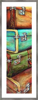 Stacked Vintage Luggage Framed Print