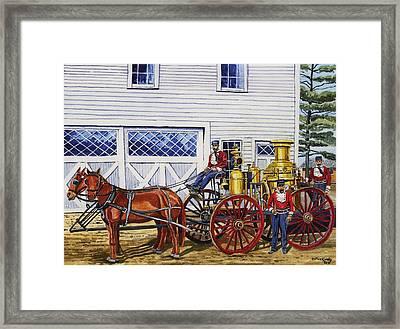 Stafford Springs Ct. Fire Dept. 1880's Framed Print by Jeff Blazejovsky
