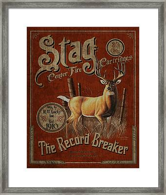Stag Record Breaker Sign Framed Print by JQ Licensing