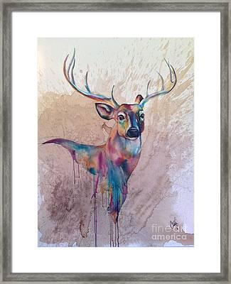 Framed Print featuring the painting Stag Spirit by Christy  Freeman