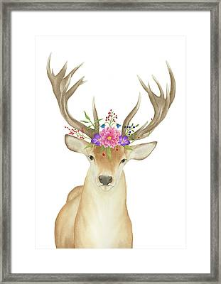 Framed Print featuring the painting Stag Watercolor  by Taylan Apukovska