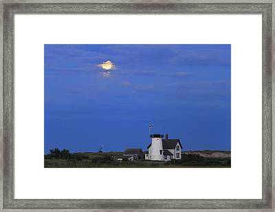 Stage Harbor Lighthouse Cape Cod Moon And Clouds Framed Print by John Burk