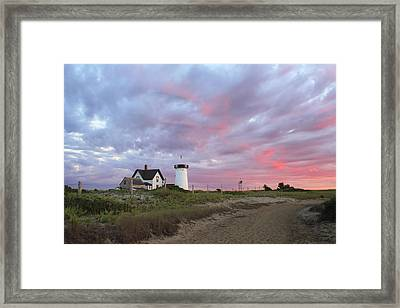Stage Harbor Lighthouse Cape Cod Sunset Framed Print