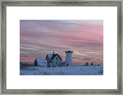 Stage Harbor Lighthouse Cape Cod Winter Sunset Framed Print
