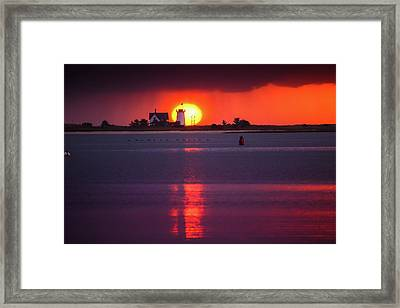 Stage Harbor Lighthouse In Chatham At Sunset Framed Print by Dapixara Art
