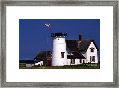 Stage Harbor Lighthouse Ma Framed Print by Skip Willits