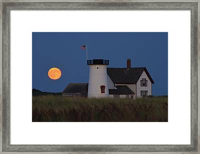 Stage Harbor Lighthouse Moonrise Framed Print