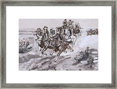 Stagecoach Attacked Historical Vignette Framed Print by Dawn Senior-Trask