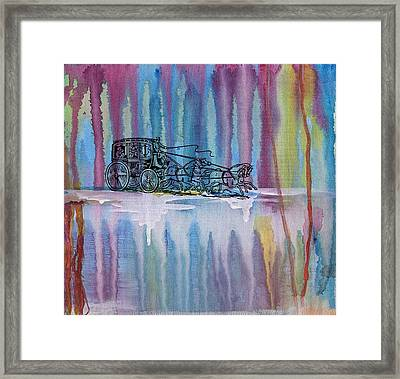 Stagecoach In The Rain Framed Print by Barbara St Jean