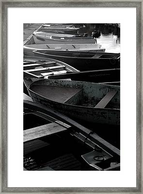 Staggered Boats Framed Print by Jez C Self
