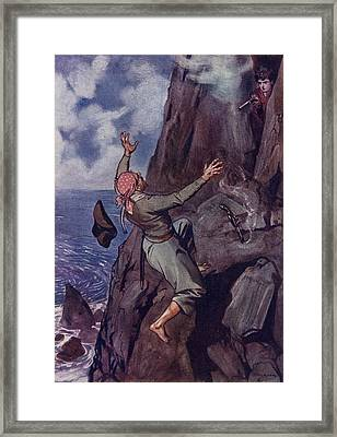Staggering Backward From The Ledge Fell Framed Print by Vintage Design Pics