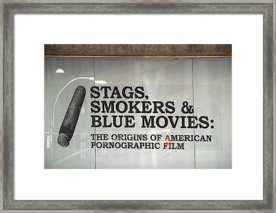 Stags Smokers And Blue Movies Framed Print by James Zuffoletto