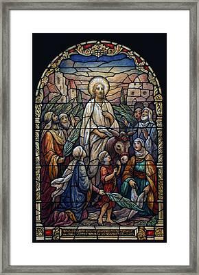 Stained Glass - Palm Sunday Framed Print by Munir Alawi
