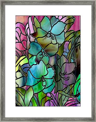Stained Glass Amaryllis Framed Print by Mindy Sommers
