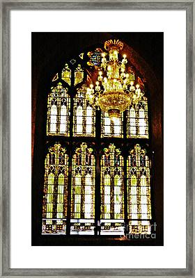 Stained Glass And Chandelier   Framed Print by Sarah Loft