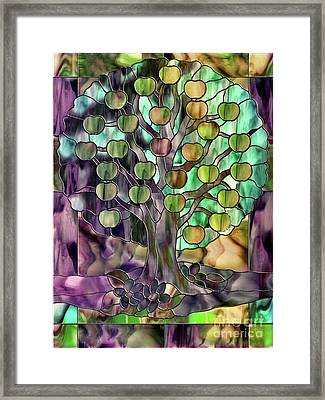 Stained Glass Apple Tree Framed Print by Mindy Sommers